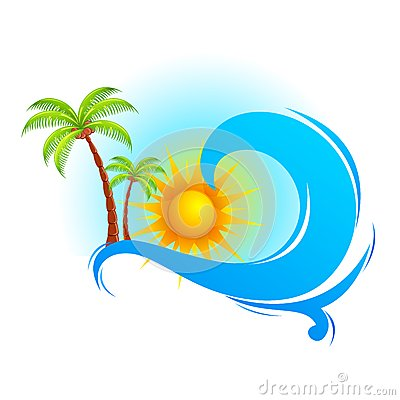 Free Sea Wave With Palm Tree Royalty Free Stock Photos - 26854178
