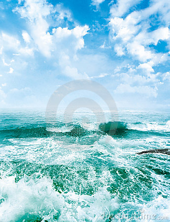 Sea waves and the blue sky