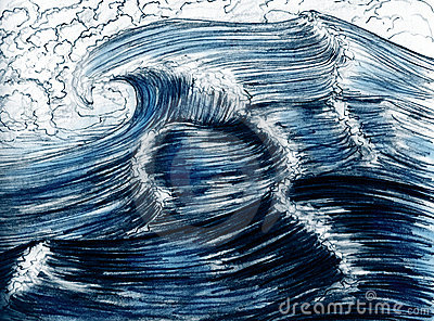 Sea waves, hand drawn