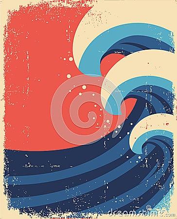 Sea waves poster.Grunge