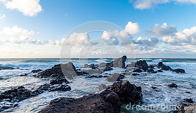 Sea Waves With Rock Formation Under The Blue Sky Free Public Domain Cc0 Image