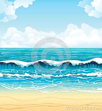 Sea with waves and sandy beach on a cloudy sky