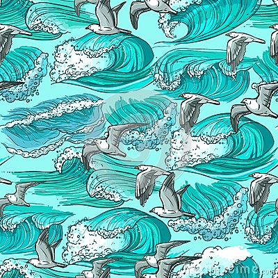 Free Sea Waves Seamless Pattern Royalty Free Stock Image - 48419426