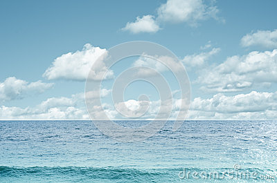 Sea and White Cloud Sky Background