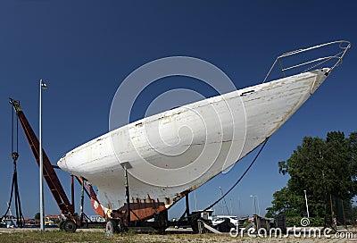 Sea yacht in repair shipyard
