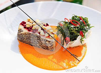 Seabass haute cuisine dish with herbs
