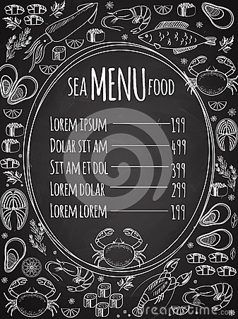 Seafood Chalkboard Menu Template Stock Vector Image 45327699