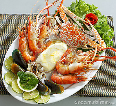Mix seafood dish isolated