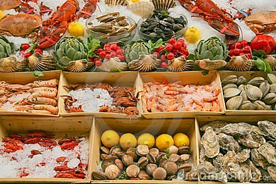 Seafood display royalty free stock photos image 6347998 for Fish buffet near me