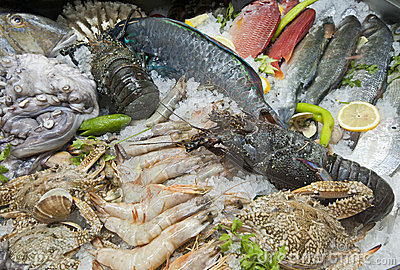 Seafood display in a restaurant