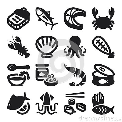 Seafood flat icons. Black