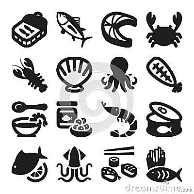 Seafood flat icons. Black