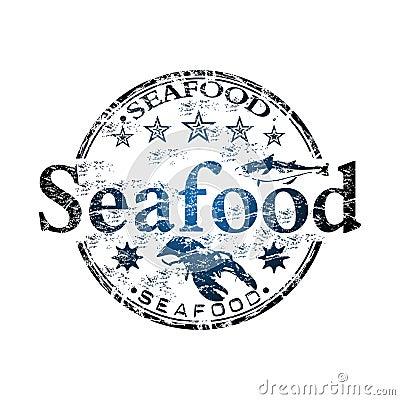 Seafood grunge rubber stamp