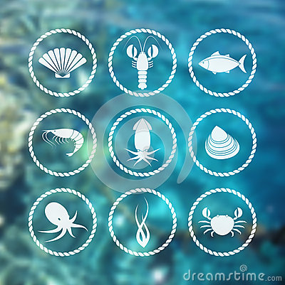 Free Seafood Icons Set On Blur Background Stock Image - 48086411