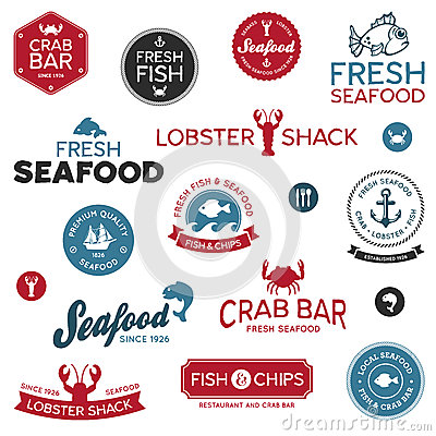 Free Seafood Labels Royalty Free Stock Photos - 25155208