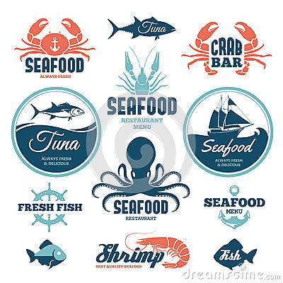 Free Seafood Labels Royalty Free Stock Images - 39976849