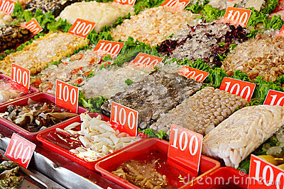 Seafood in market