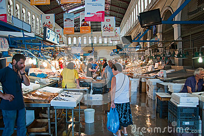 Seafood on the market of Athens on August 1, Greece. Editorial Photo