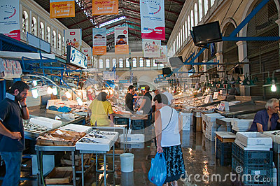 Seafood on the market of Athens on August 1, Greece. Editorial Stock Image