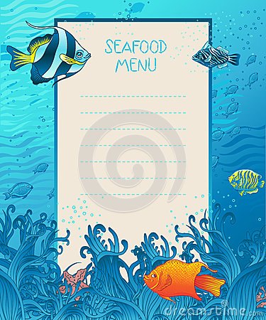 Seafood menu design background template