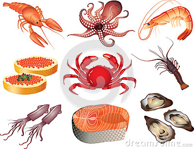 Seafood photo-realistic set