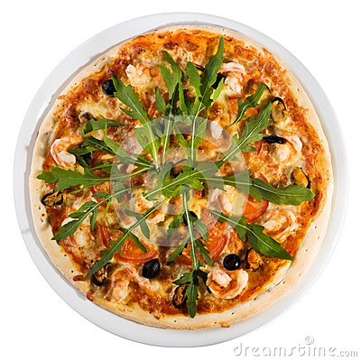 Seafood  pizza from the top