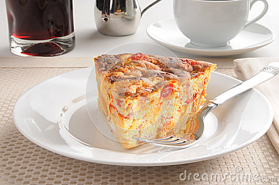 Seafood quiche with juice
