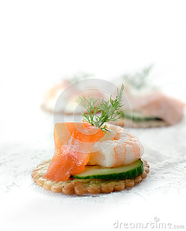 Seafood salad canapes stock photo image 45242860 for Canape garnishes
