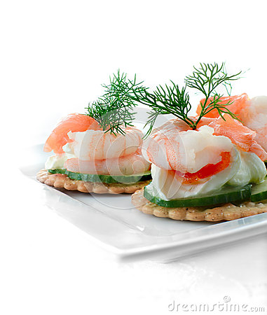 Seafood salad canapes stock photo image 45271735 for Canape garnishes