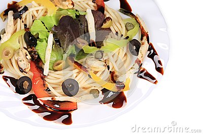 Seafood salad with spaghetti.