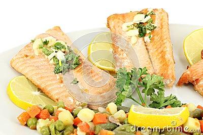 Seafood salmon with salad
