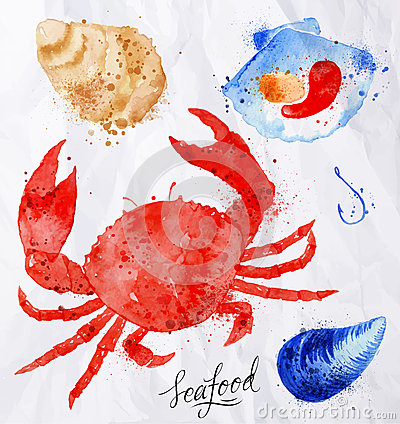 Free Seafood Watercolor Crab, Clams, Mussels, Oysters Royalty Free Stock Photos - 52413768