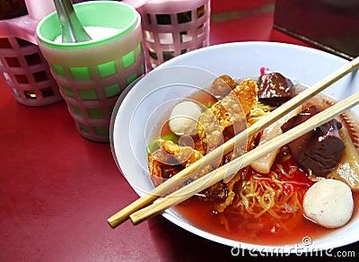 Seafood yong tau foo rice noodles with fishball