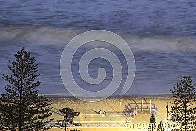 Ocean beach promenade long exposure at night