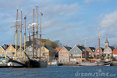 Seafront of Urk, an old Dutch fishing village.