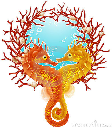 Free Seahorse Love Frame Royalty Free Stock Photos - 15131608