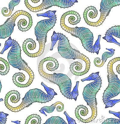 Seahorse seamless pattern tile