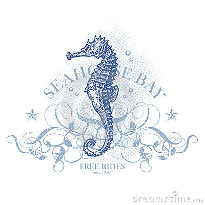 Seahorse summer design element