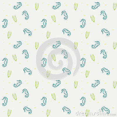 Seahorses and weeds vector seamless sea pattern
