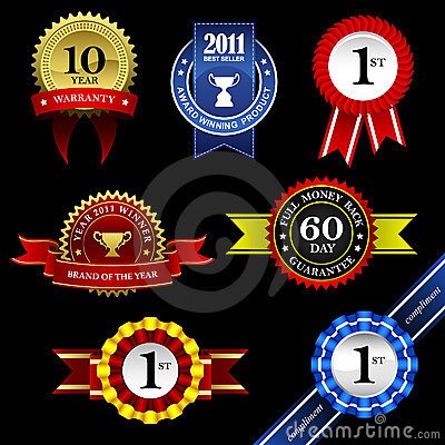 Free Seal Ribbon Rosette Badge Trophy Medal Banner Awar Royalty Free Stock Photo - 20452805