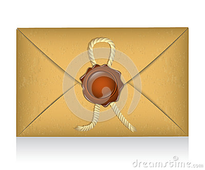 Sealed envelope with sealing wax