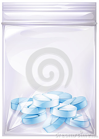 A sealed plastic with pills