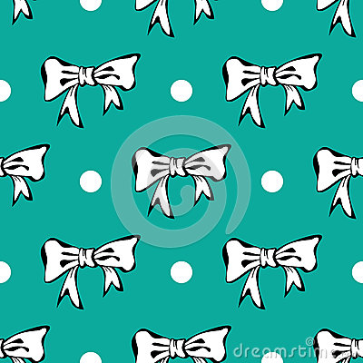 Seamles pattern background with white bows and pol