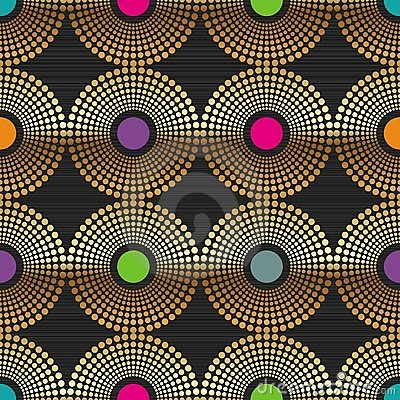Seamless abstract background with golden circles