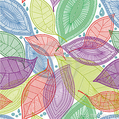 Free Seamless Abstract Color Leaves Pattern Royalty Free Stock Photography - 17441847