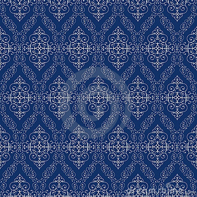 Seamless abstract cyan orient pattern