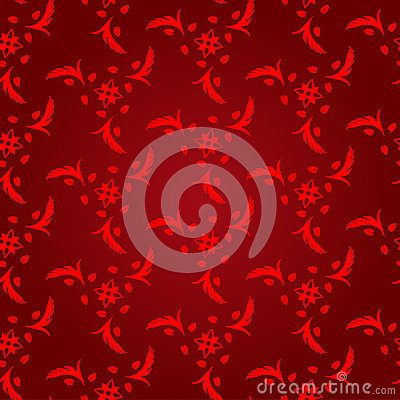 Seamless abstract floral pattern background, red