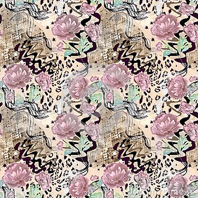 Free Seamless Abstract Floral Pattern On A Leopard Skin Texture, Snake. Royalty Free Stock Photography - 114522337