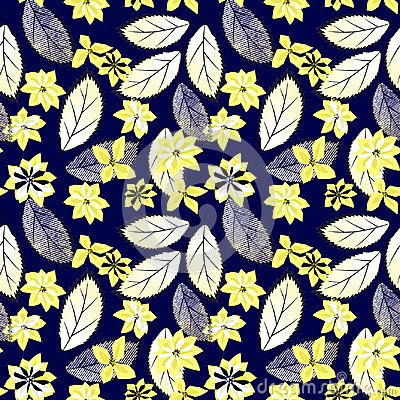 Free Seamless Abstract Floral Pattern.Yellow Flowers, Leaves On Dark Blue Background. Stock Image - 118413801
