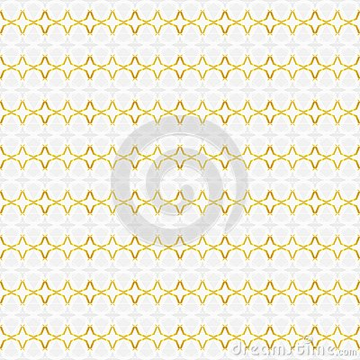 Seamless abstract pattern of four-pointed stars and other shapes in white, gray, gradient yellow colors gold line art. Vector Illustration